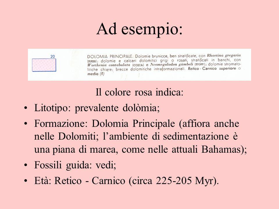 Ad esempio: Il colore rosa indica: Litotipo: prevalente dolòmia; Formazione: Dolomia Principale (affiora anche nelle Dolomiti; l'ambiente di sedimenta