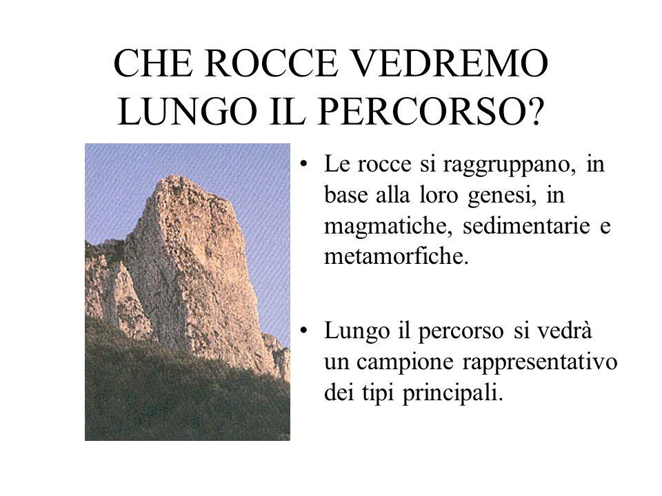 CHE ROCCE VEDREMO LUNGO IL PERCORSO? Le rocce si raggruppano, in base alla loro genesi, in magmatiche, sedimentarie e metamorfiche. Lungo il percorso