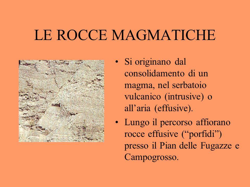 LE ROCCE MAGMATICHE Si originano dal consolidamento di un magma, nel serbatoio vulcanico (intrusive) o all'aria (effusive). Lungo il percorso affioran