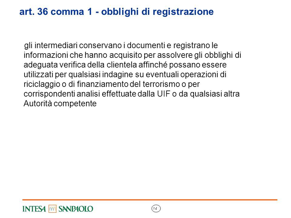 14 art. 36 comma 1 - obblighi di registrazione gli intermediari conservano i documenti e registrano le informazioni che hanno acquisito per assolvere