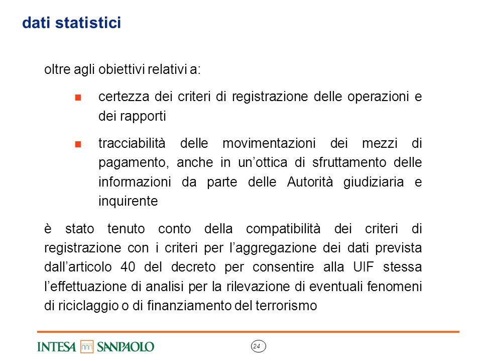 24 dati statistici oltre agli obiettivi relativi a: certezza dei criteri di registrazione delle operazioni e dei rapporti tracciabilità delle moviment