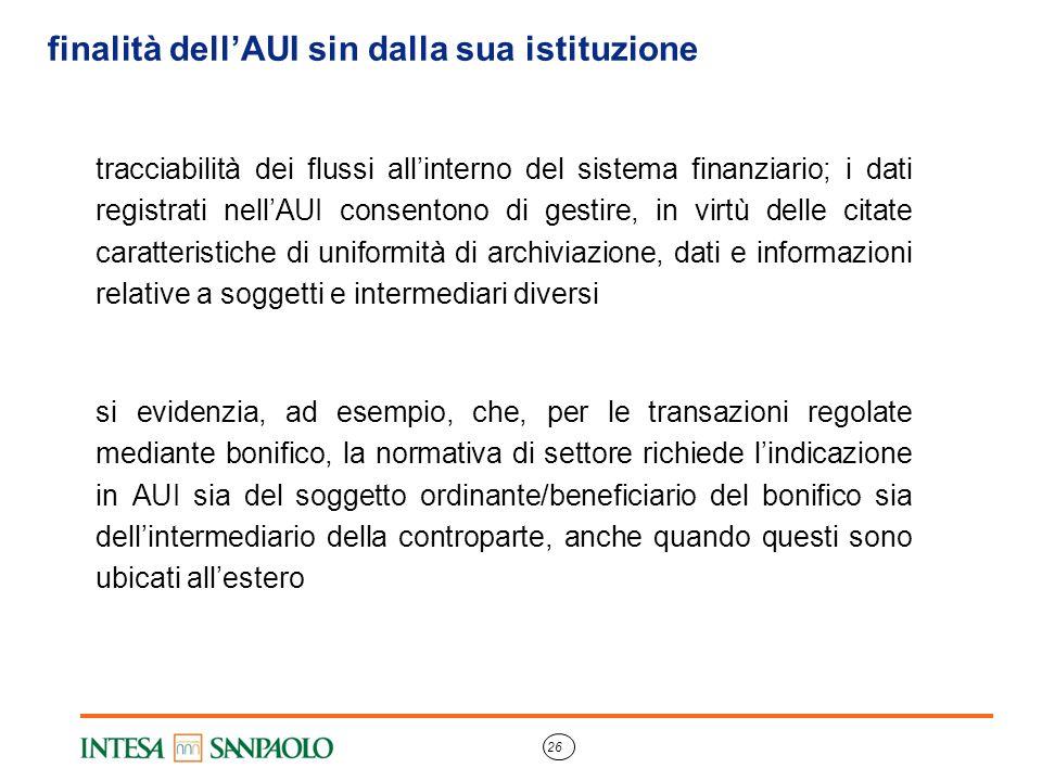 26 finalità dell'AUI sin dalla sua istituzione tracciabilità dei flussi all'interno del sistema finanziario; i dati registrati nell'AUI consentono di