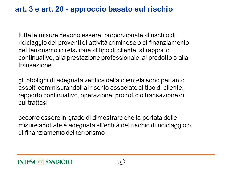 3 art. 3 e art. 20 - approccio basato sul rischio tutte le misure devono essere proporzionate al rischio di riciclaggio dei proventi di attività crimi