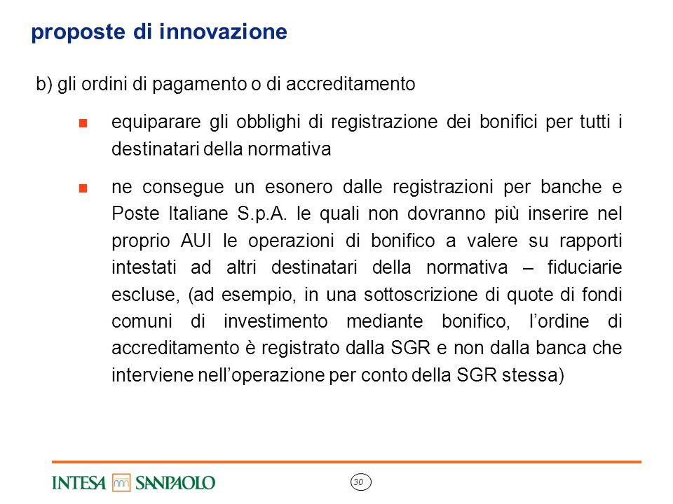 30 proposte di innovazione b) gli ordini di pagamento o di accreditamento equiparare gli obblighi di registrazione dei bonifici per tutti i destinatar