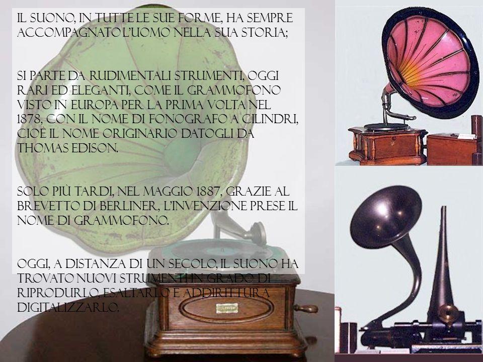 Il Suono, in tutte le sue forme, ha sempre accompagnato l'uomo nella sua storia; si parte da rudimentali strumenti, oggi rari ed eleganti, come il grammofono visto in Europa per la prima volta nel 1878, con il nome di Fonografo a cilindri, cioè il nome originario datogli da Thomas Edison.
