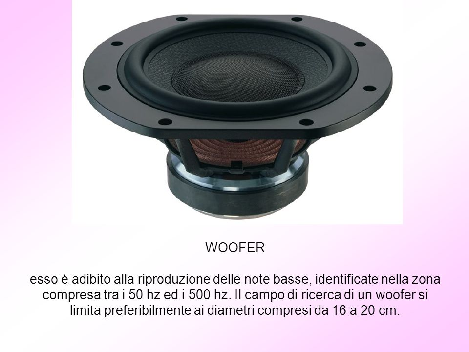 WOOFER esso è adibito alla riproduzione delle note basse, identificate nella zona compresa tra i 50 hz ed i 500 hz.