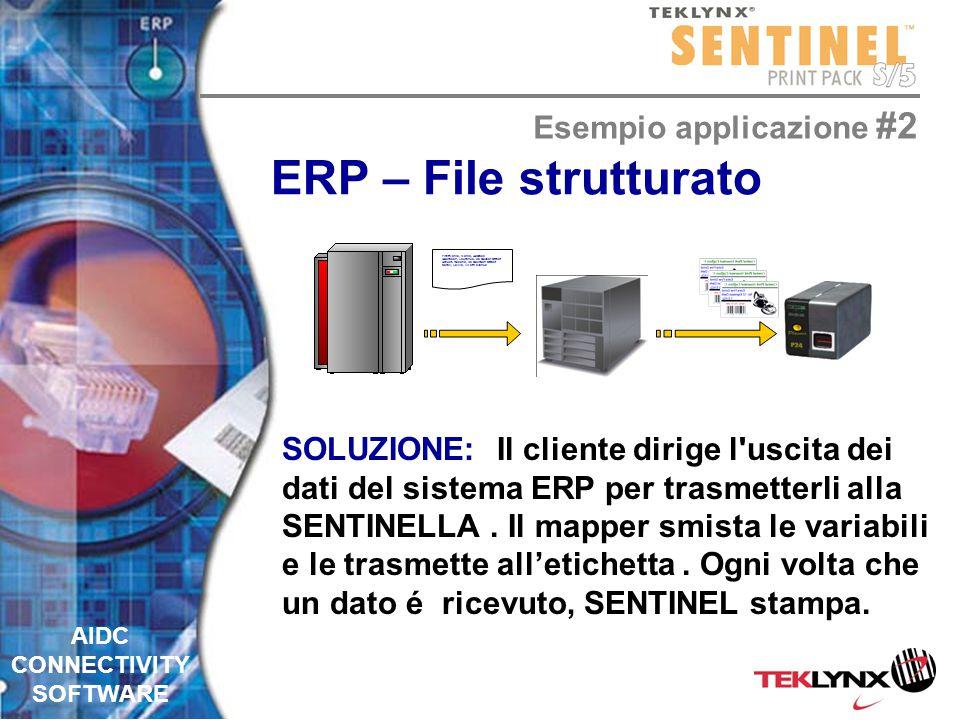 AIDC CONNECTIVITY SOFTWARE ERP – File strutturato PROBLEMA: un sistema ERP che non sa stampare direttamente dei codici a barre, può creare dati in uscita in un qualsiasi formato.