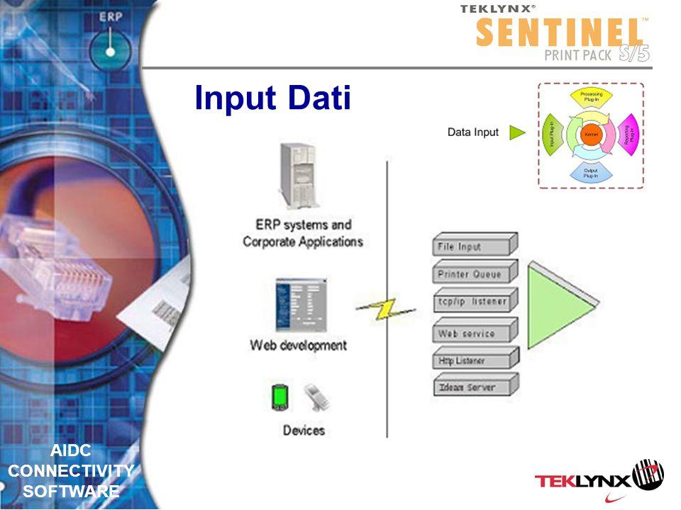 AIDC CONNECTIVITY SOFTWARE Input dati SENTINEL aspetta un evento (la presenza di un dato)SENTINEL aspetta un evento (la presenza di un dato) Quando il dato arriva il processo inizia Quando il dato arriva il processo inizia