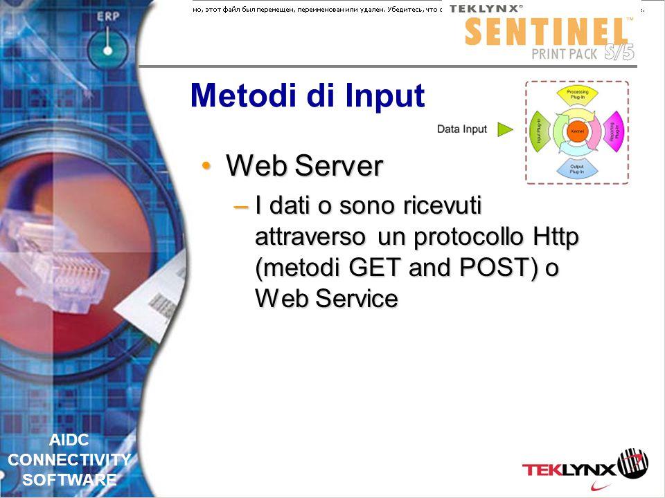 AIDC CONNECTIVITY SOFTWARE Metodi di Input Cattura fileCattura file –Controllo di una cartella impostata per ricevere I dati Ascolto di una porta TCP/IPAscolto di una porta TCP/IP Cattura StampaCattura Stampa –Controllo di uno spool di stampa specifico