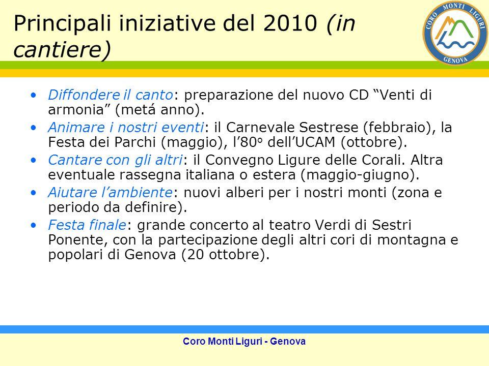 Coro Monti Liguri - Genova Principali iniziative del 2010 (in cantiere) Diffondere il canto: preparazione del nuovo CD Venti di armonia (metá anno).