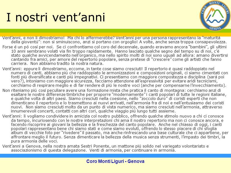 Coro Monti Liguri - Genova I nostri vent'anni Vent'anni, e non li dimostriamo.