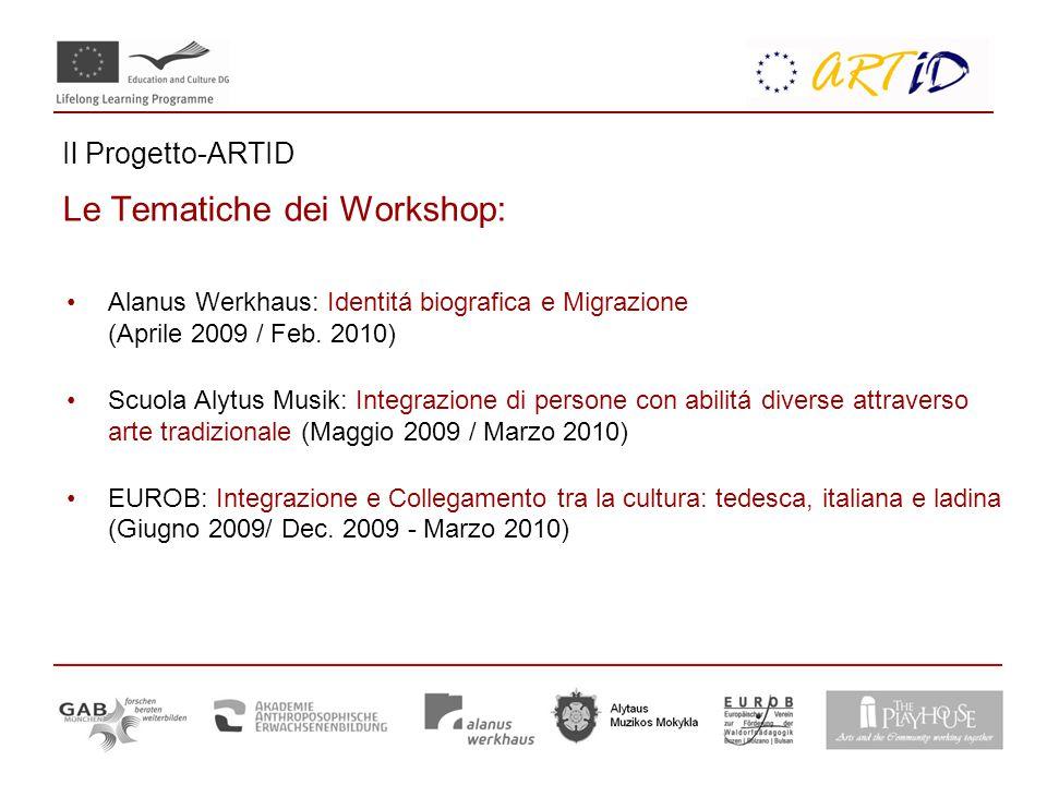 Il Progetto-ARTID Le Tematiche dei Workshop: Alanus Werkhaus: Identitá biografica e Migrazione (Aprile 2009 / Feb.