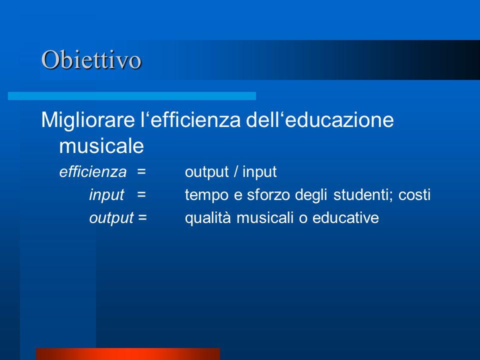 Obiettivo Migliorare l'efficienza dell'educazione musicale efficienza = output / input input = tempo e sforzo degli studenti; costi output = qualità musicali o educative