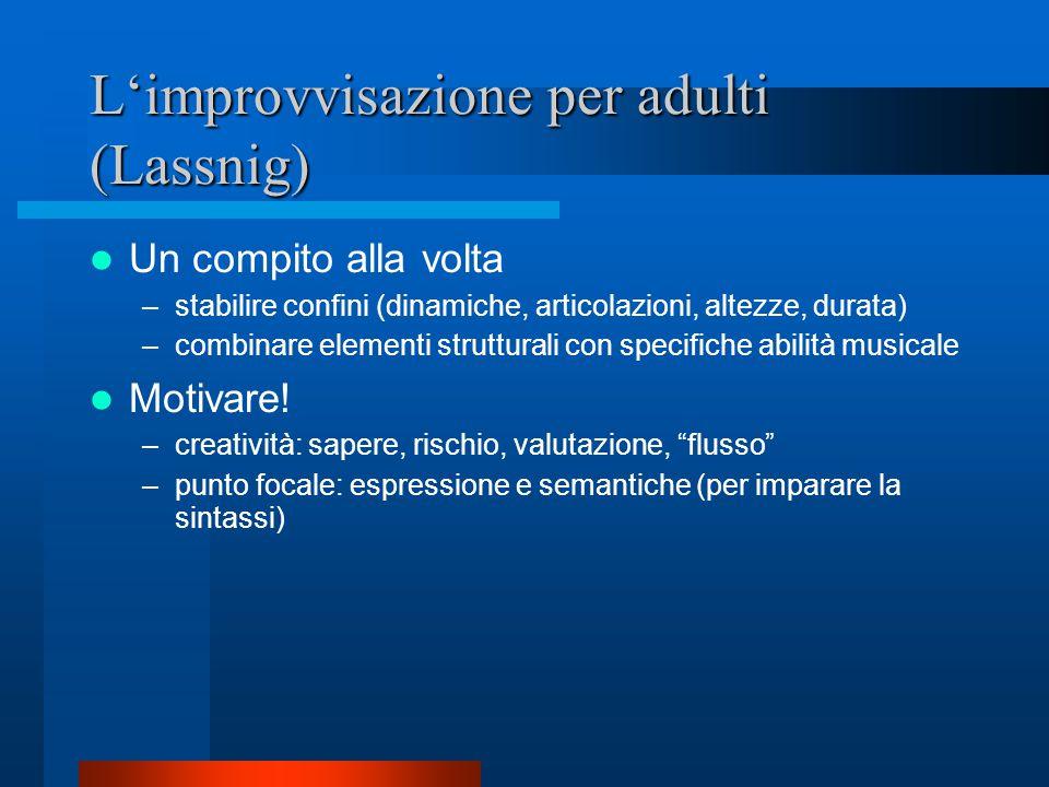 L'improvvisazione per adulti (Lassnig) Un compito alla volta –stabilire confini (dinamiche, articolazioni, altezze, durata) –combinare elementi strutturali con specifiche abilità musicale Motivare.