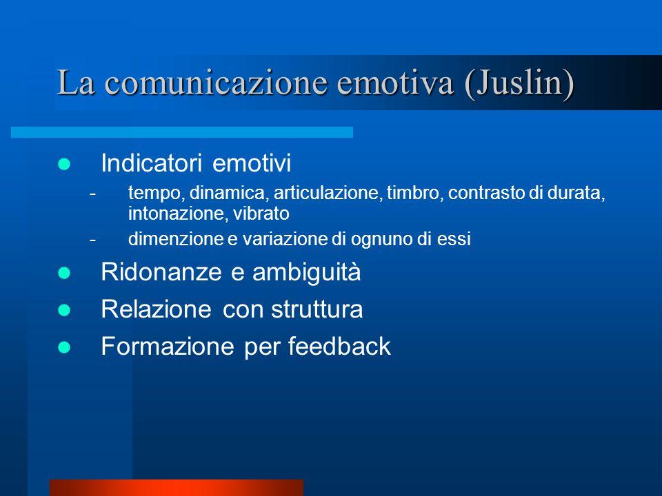 La comunicazione emotiva (Juslin) Indicatori emotivi -tempo, dinamica, articulazione, timbro, contrasto di durata, intonazione, vibrato -dimenzione e variazione di ognuno di essi Ridonanze e ambiguità Relazione con struttura Formazione per feedback