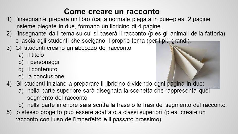 Come creare un racconto 1)l'insegnante prepara un libro (carta normale piegata in due--p.es.