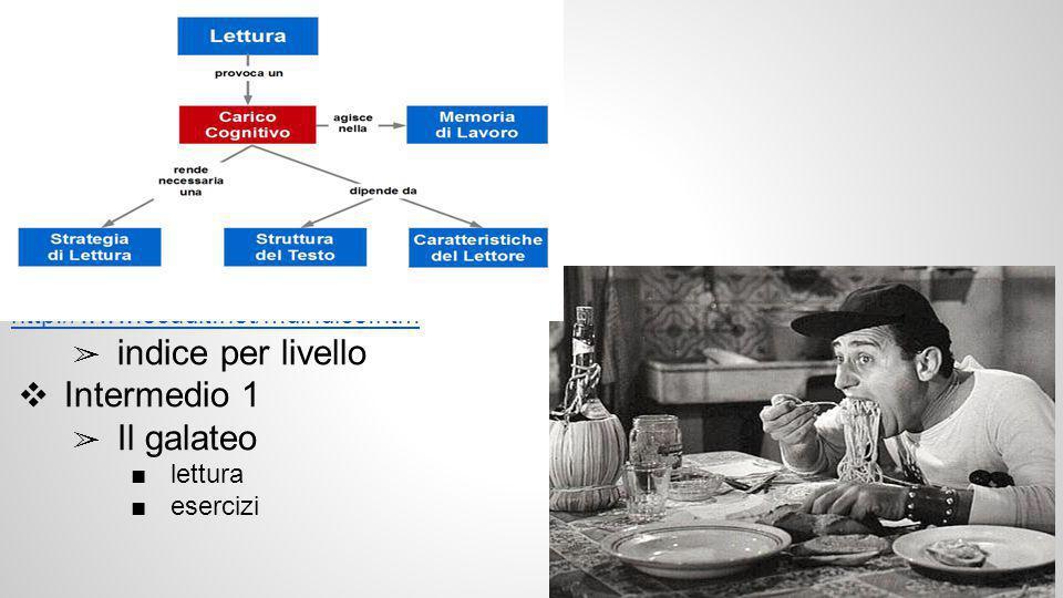 http://www.scudit.net/mdindice.htm ➢ indice per livello ❖ Intermedio 1 ➢ Il galateo ■lettura ■esercizi