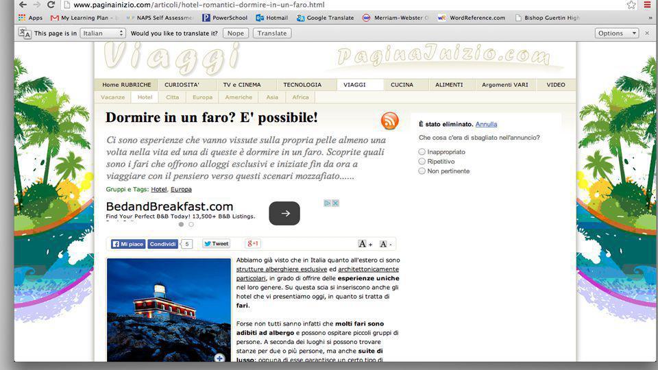 Relazione: Andare in vacanza (medie/liceo) ●paginainizio.it ○ viaggi ■ articolo: Dormire in un faro.