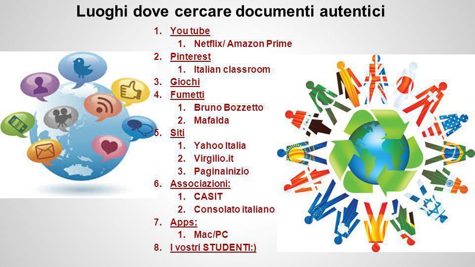 Luoghi dove cercare documenti autentici 1.You tube 1.Netflix/ Amazon Prime 2.Pinterest 1.Italian classroom 3.Giochi 4.Fumetti 1.Bruno Bozzetto 2.Mafalda 5.Siti 1.Yahoo Italia 2.Virgilio.it 3.Paginainizio 6.Associazioni: 1.CASIT 2.Consolato italiano 7.Apps: 1.Mac/PC 8.I vostri STUDENTI:)