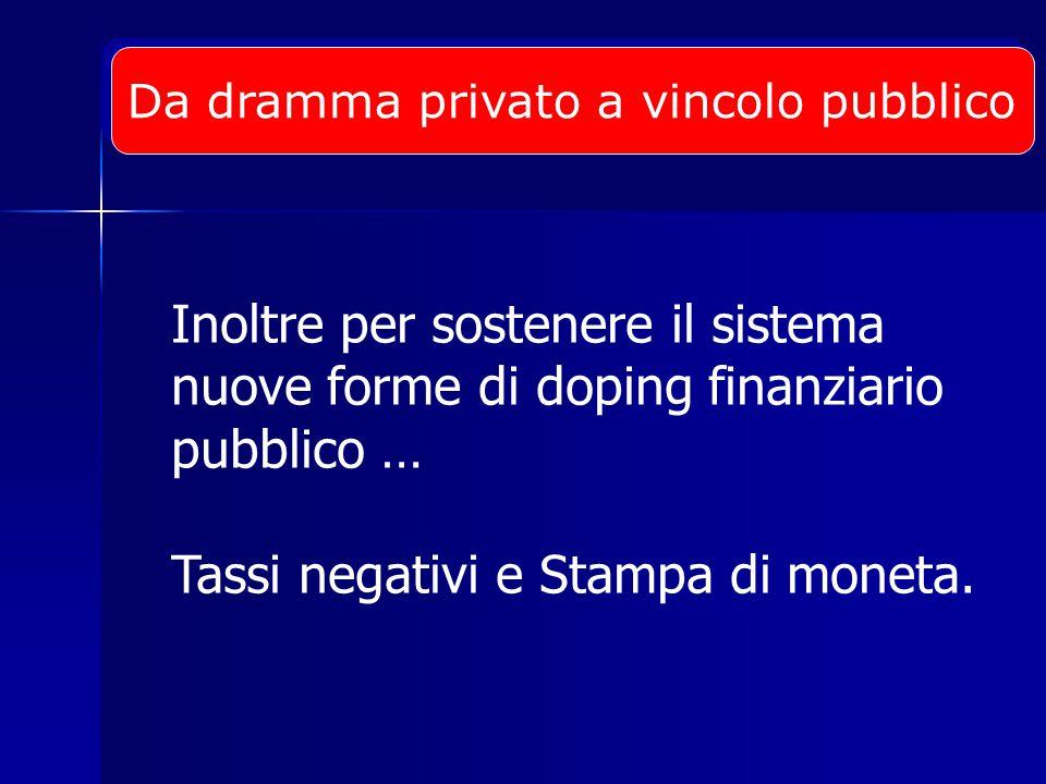 Inoltre per sostenere il sistema nuove forme di doping finanziario pubblico … Tassi negativi e Stampa di moneta.