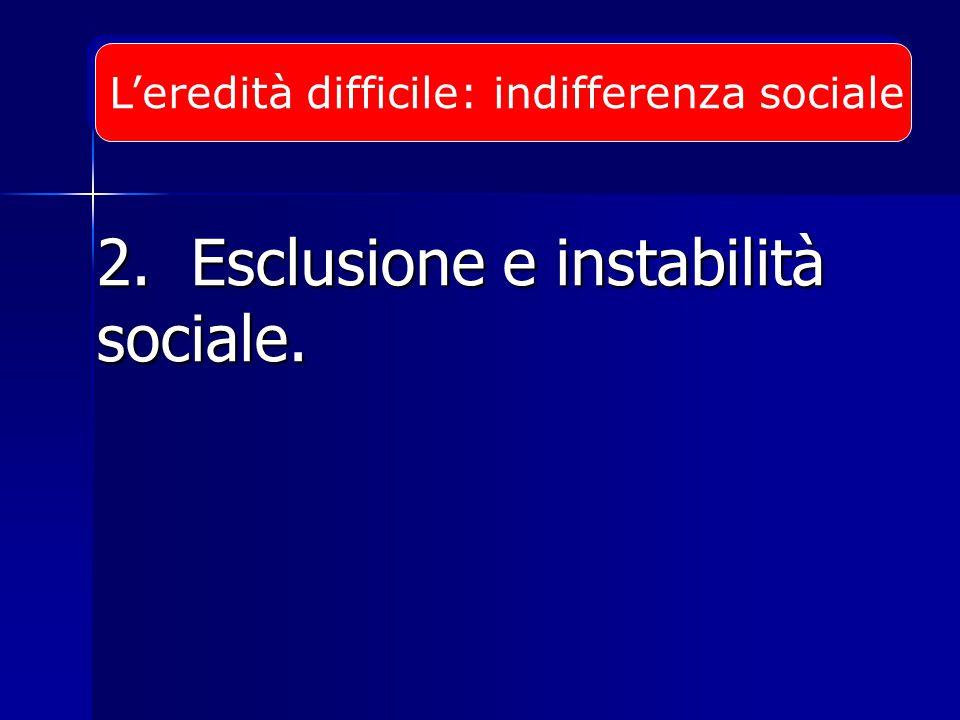 2. Esclusione e instabilità sociale. L'eredità difficile:indifferenza sociale
