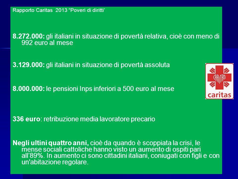 Rapporto Caritas 2013 Poveri di diritti' 8.272.000: gli italiani in situazione di povertà relativa, cioè con meno di 992 euro al mese 3.129.000: gli italiani in situazione di povertà assoluta 8.000.000: le pensioni Inps inferiori a 500 euro al mese 336 euro: retribuzione media lavoratore precario Negli ultini quattro anni, cioè da quando è scoppiata la crisi, le mense sociali cattoliche hanno visto un aumento di ospiti pari all'89%.