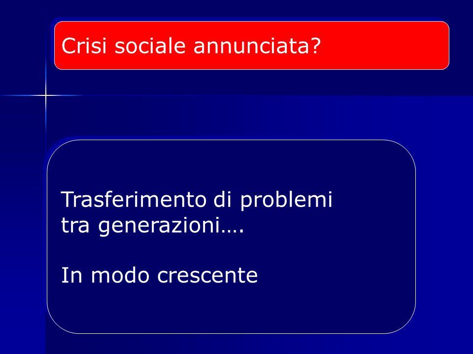 Crisi sociale annunciata. Trasferimento di problemi tra generazioni….