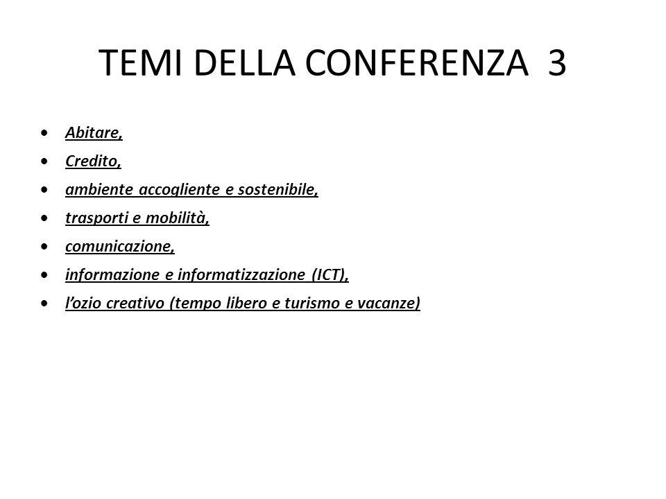 TEMI DELLA CONFERENZA 3  Abitare,  Credito,  ambiente accogliente e sostenibile,  trasporti e mobilità,  comunicazione,  informazione e informatizzazione (ICT),  l'ozio creativo (tempo libero e turismo e vacanze)
