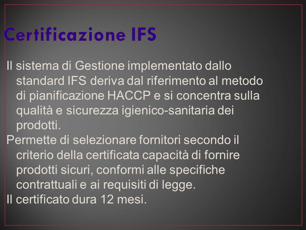 Il sistema di Gestione implementato dallo standard IFS deriva dal riferimento al metodo di pianificazione HACCP e si concentra sulla qualità e sicurez