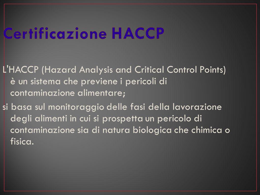 L'HACCP (Hazard Analysis and Critical Control Points) è un sistema che previene i pericoli di contaminazione alimentare; si basa sul monitoraggio dell