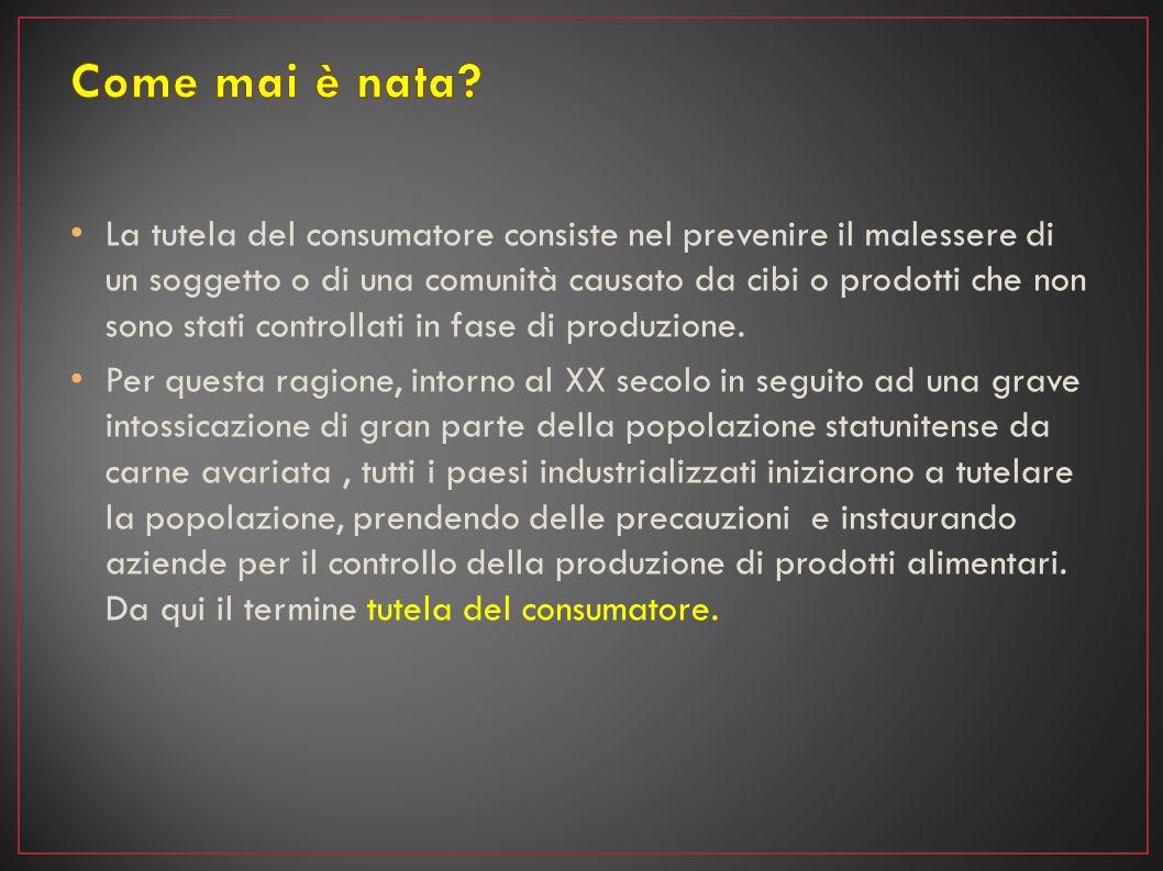 La tutela del consumatore consiste nel prevenire il malessere di un soggetto o di una comunità causato da cibi o prodotti che non sono stati controlla