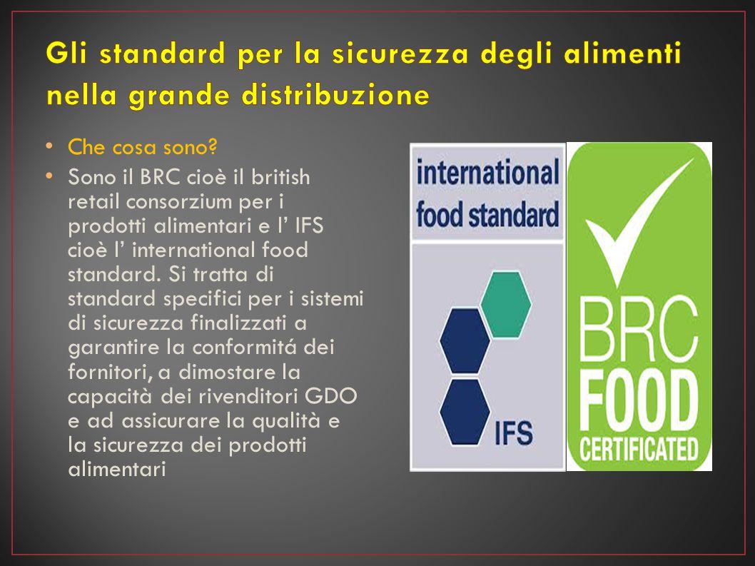 Che cosa sono? Sono il BRC cioè il british retail consorzium per i prodotti alimentari e l' IFS cioè l' international food standard. Si tratta di stan