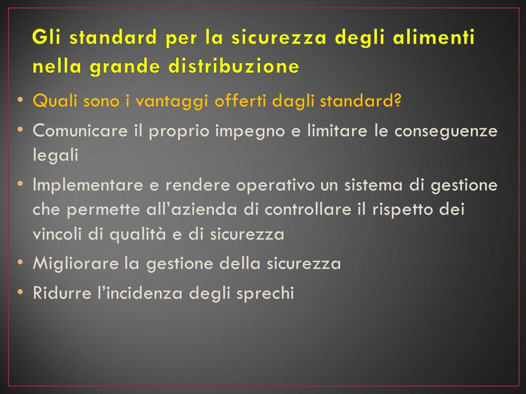 Quali sono i vantaggi offerti dagli standard? Comunicare il proprio impegno e limitare le conseguenze legali Implementare e rendere operativo un siste
