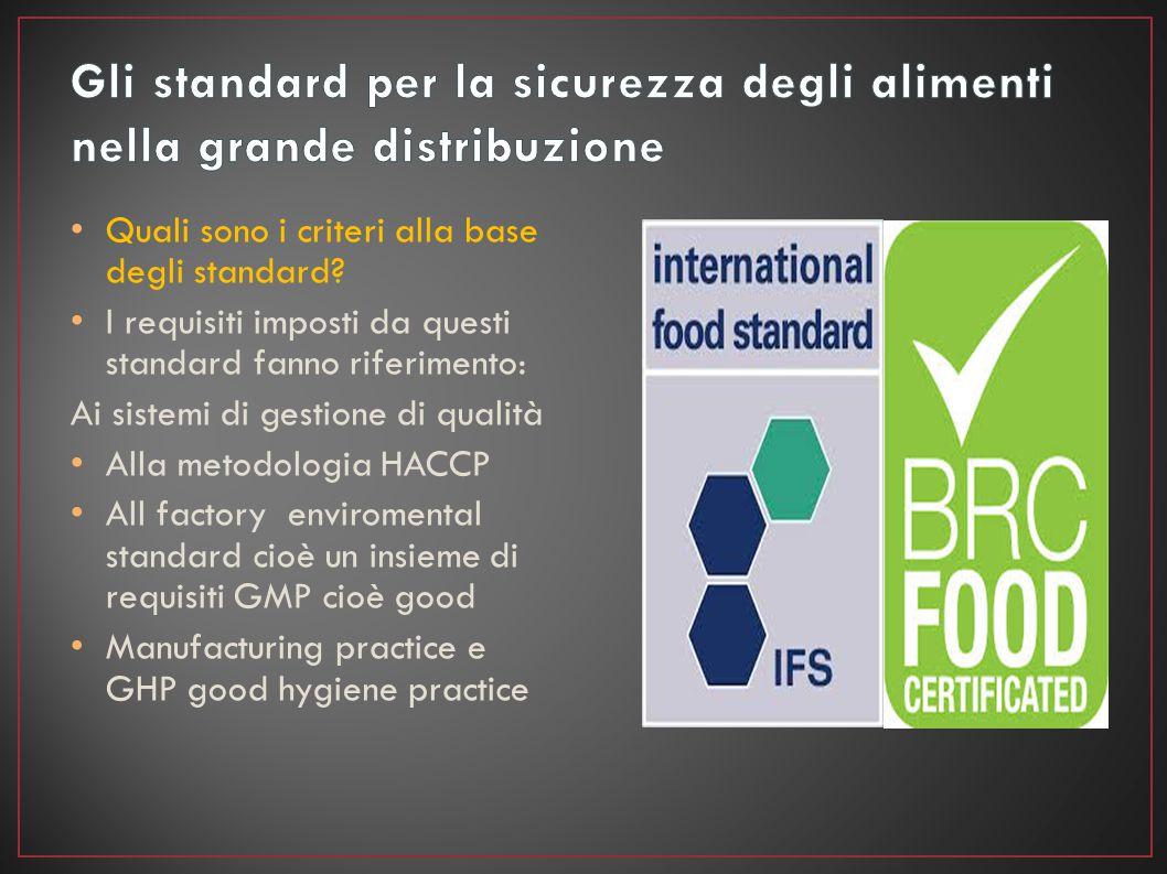 Quali sono i criteri alla base degli standard? I requisiti imposti da questi standard fanno riferimento: Ai sistemi di gestione di qualità Alla metodo