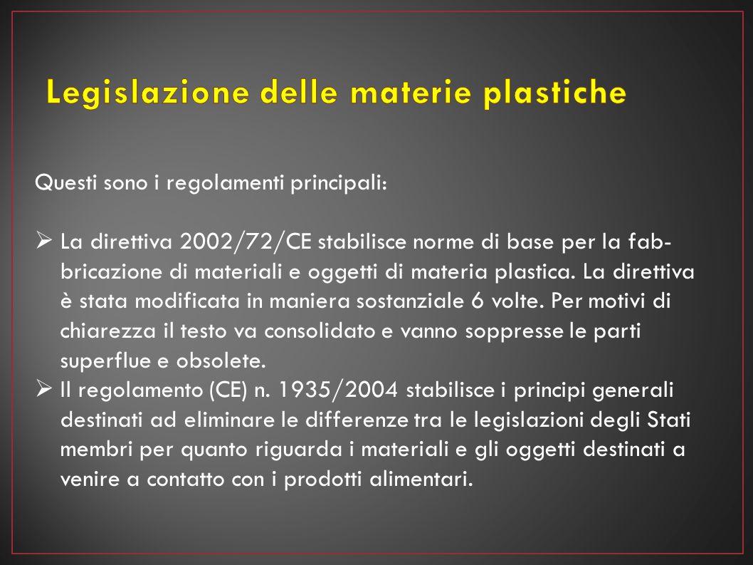 Questi sono i regolamenti principali:  La direttiva 2002/72/CE stabilisce norme di base per la fab bricazione di materiali e oggetti di materia plas