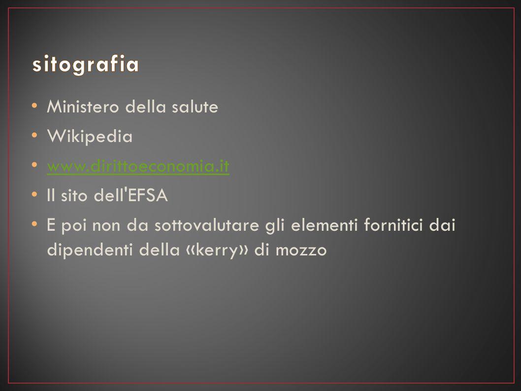 Ministero della salute Wikipedia www.dirittoeconomia.it Il sito dell'EFSA E poi non da sottovalutare gli elementi fornitici dai dipendenti della «kerr