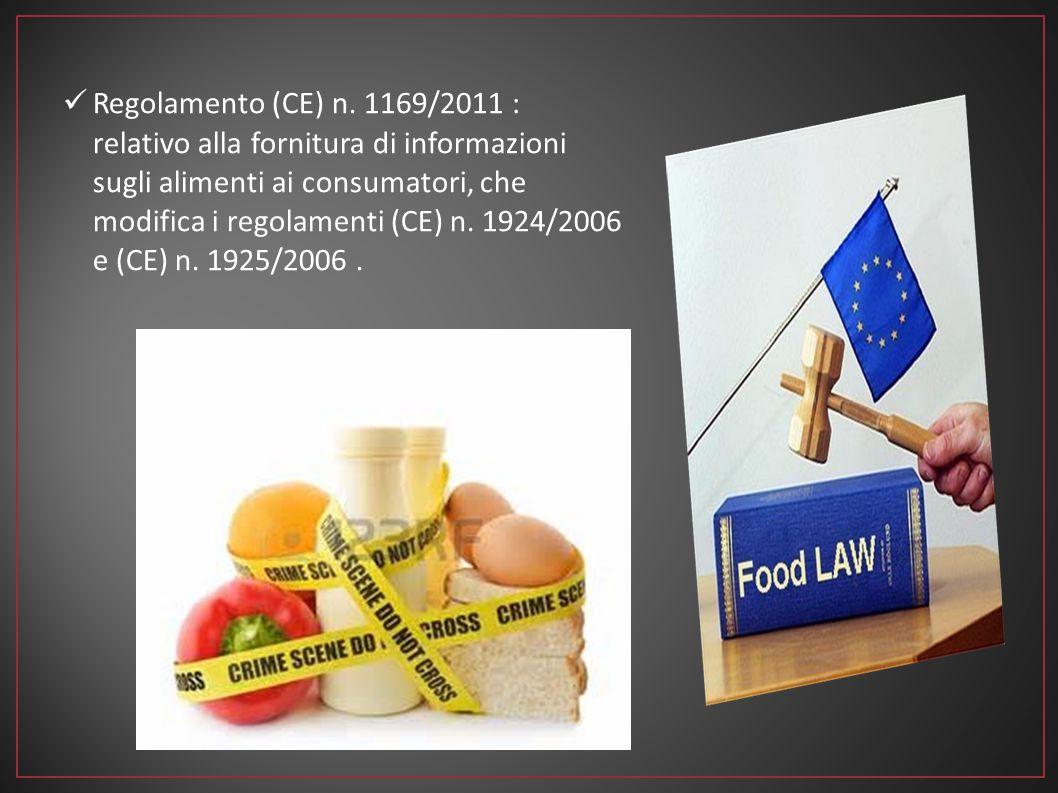Regolamento (CE) n. 1169/2011 : relativo alla fornitura di informazioni sugli alimenti ai consumatori, che modifica i regolamenti (CE) n. 1924/2006 e