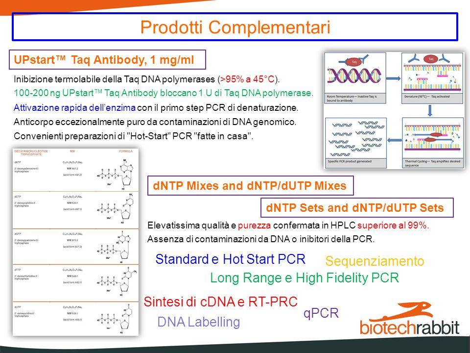 UPstart™ Taq Antibody, 1 mg/ml Prodotti Complementari Inibizione termolabile della Taq DNA polymerases (>95% a 45°C). 100-200 ng UPstart™ Taq Antibody