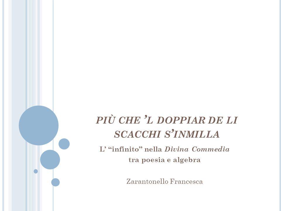 """PIÙ CHE ' L DOPPIAR DE LI SCACCHI S ' INMILLA L' """"infinito"""" nella Divina Commedia tra poesia e algebra Zarantonello Francesca"""