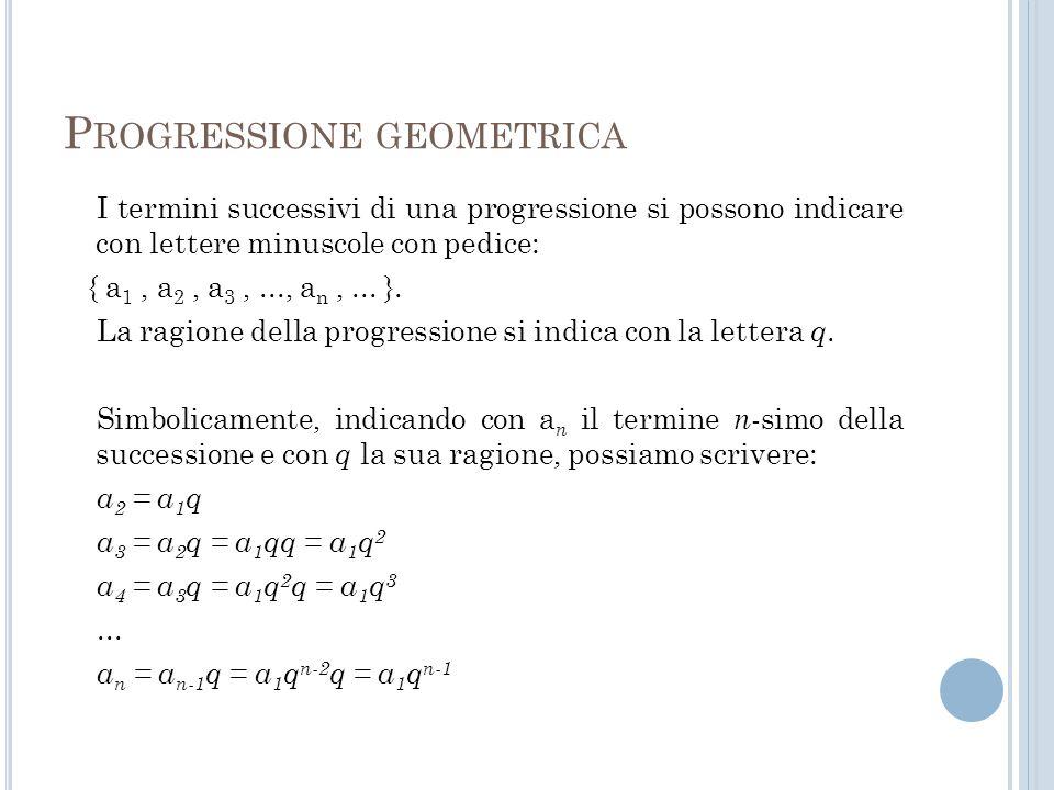 P ROGRESSIONE GEOMETRICA I termini successivi di una progressione si possono indicare con lettere minuscole con pedice: { a 1, a 2, a 3,..., a n,... }