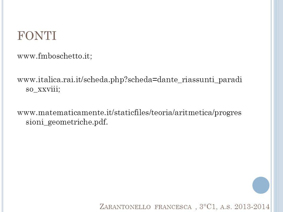 FONTI www.fmboschetto.it; www.italica.rai.it/scheda.php?scheda=dante_riassunti_paradi so_xxviii; www.matematicamente.it/staticfiles/teoria/aritmetica/