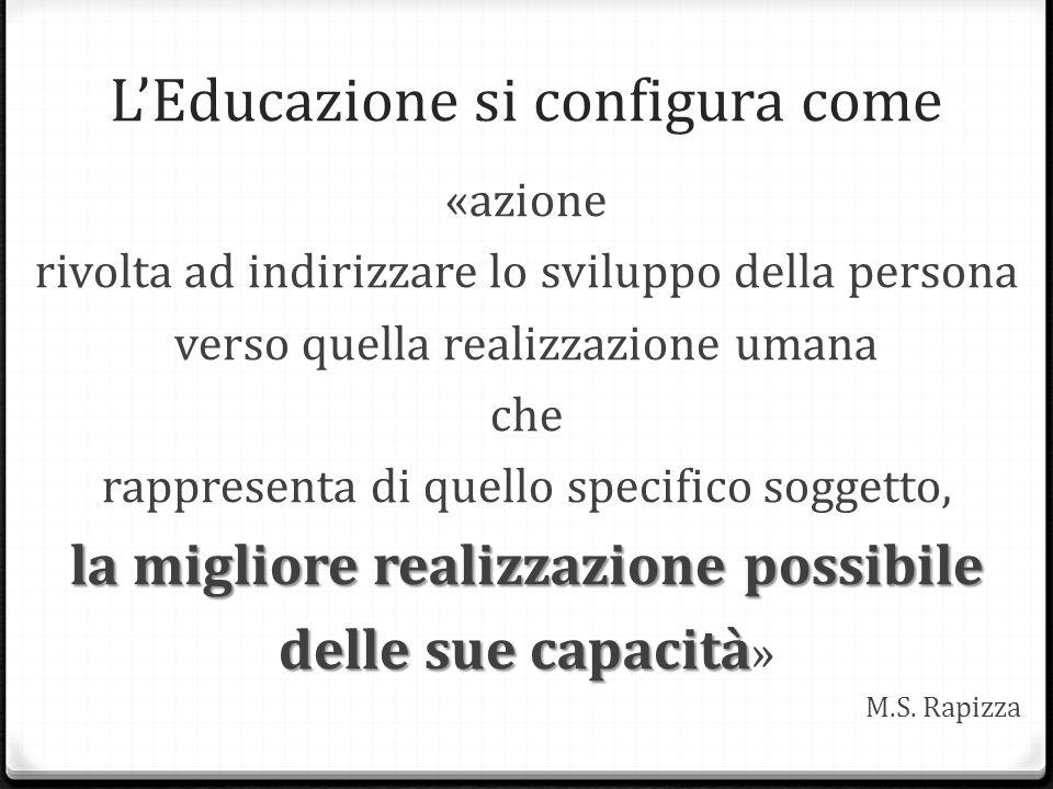 L'Educazione si configura come «azione rivolta ad indirizzare lo sviluppo della persona verso quella realizzazione umana che rappresenta di quello spe