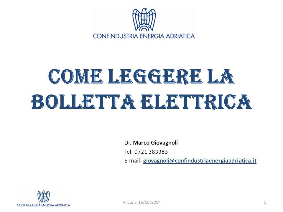 Componenti della bolletta elettrica Componente energia (e perdite di rete) Dispacciamento Servizi di rete (o trasporto) Imposte (o accise) Ancona 16/10/20142