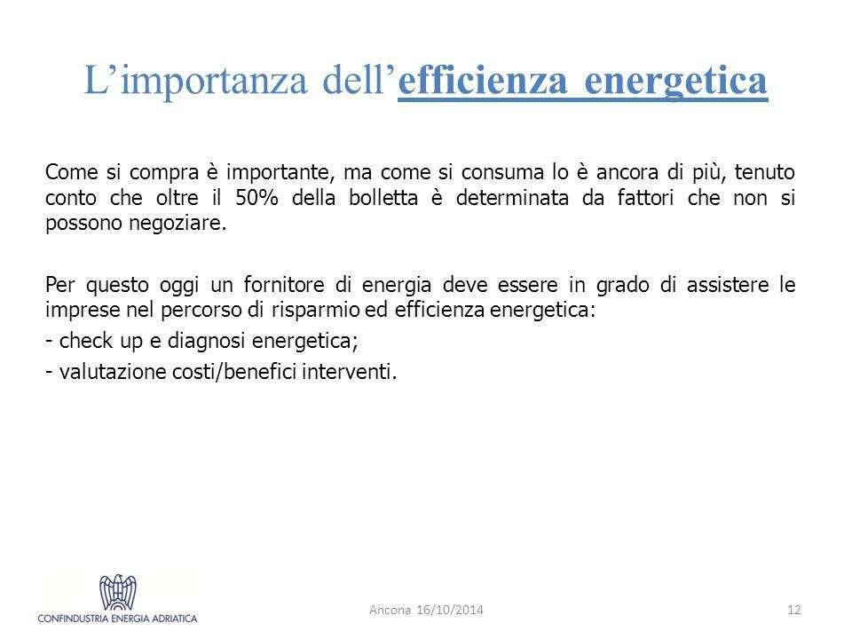 L'importanza dell'efficienza energetica Come si compra è importante, ma come si consuma lo è ancora di più, tenuto conto che oltre il 50% della bolletta è determinata da fattori che non si possono negoziare.