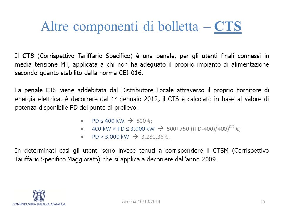 Altre componenti di bolletta – CTS Ancona 16/10/201415 Il CTS (Corrispettivo Tariffario Specifico) è una penale, per gli utenti finali connessi in media tensione MT, applicata a chi non ha adeguato il proprio impianto di alimentazione secondo quanto stabilito dalla norma CEI-016.