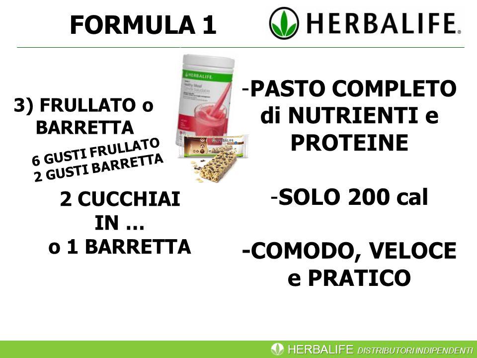 HERBALIFE DISTRIBUTORI INDIPENDENTI FORMULA 1 -PASTO COMPLETO di NUTRIENTI e PROTEINE -SOLO 200 cal -COMODO, VELOCE e PRATICO 2 CUCCHIAI IN … o 1 BARRETTA 6 GUSTI FRULLATO 2 GUSTI BARRETTA 3) FRULLATO o BARRETTA