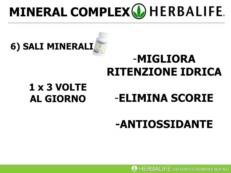 HERBALIFE DISTRIBUTORI INDIPENDENTI MINERAL COMPLEX -MIGLIORA RITENZIONE IDRICA -ELIMINA SCORIE -ANTIOSSIDANTE 1 x 3 VOLTE AL GIORNO 6) SALI MINERALI
