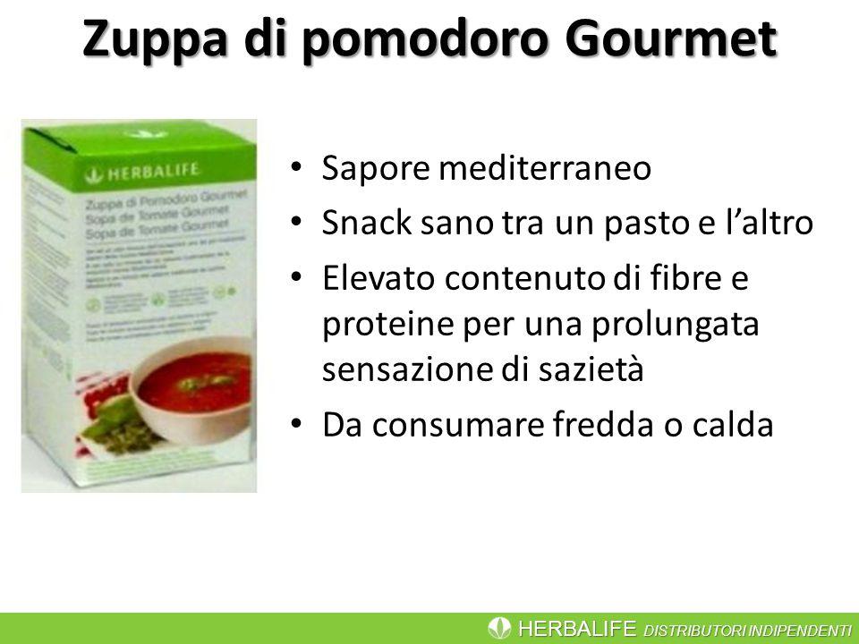 HERBALIFE DISTRIBUTORI INDIPENDENTI Zuppa di pomodoro Gourmet Sapore mediterraneo Snack sano tra un pasto e l'altro Elevato contenuto di fibre e prote