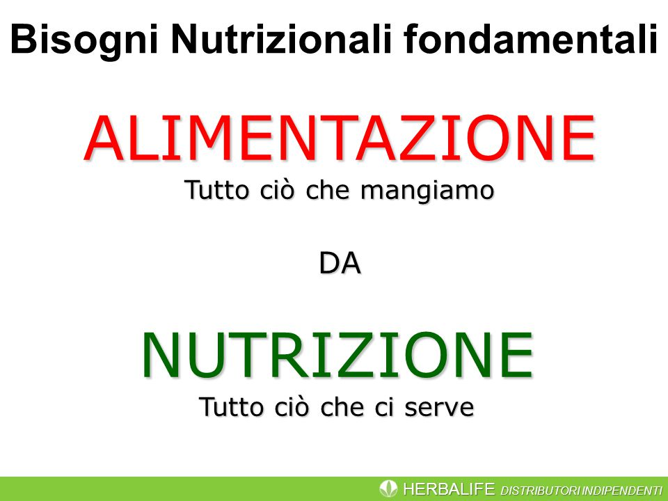 HERBALIFE DISTRIBUTORI INDIPENDENTI ALIMENTAZIONE Tutto ciò che mangiamo NUTRIZIONE Tutto ciò che ci serve DA Bisogni Nutrizionali fondamentali