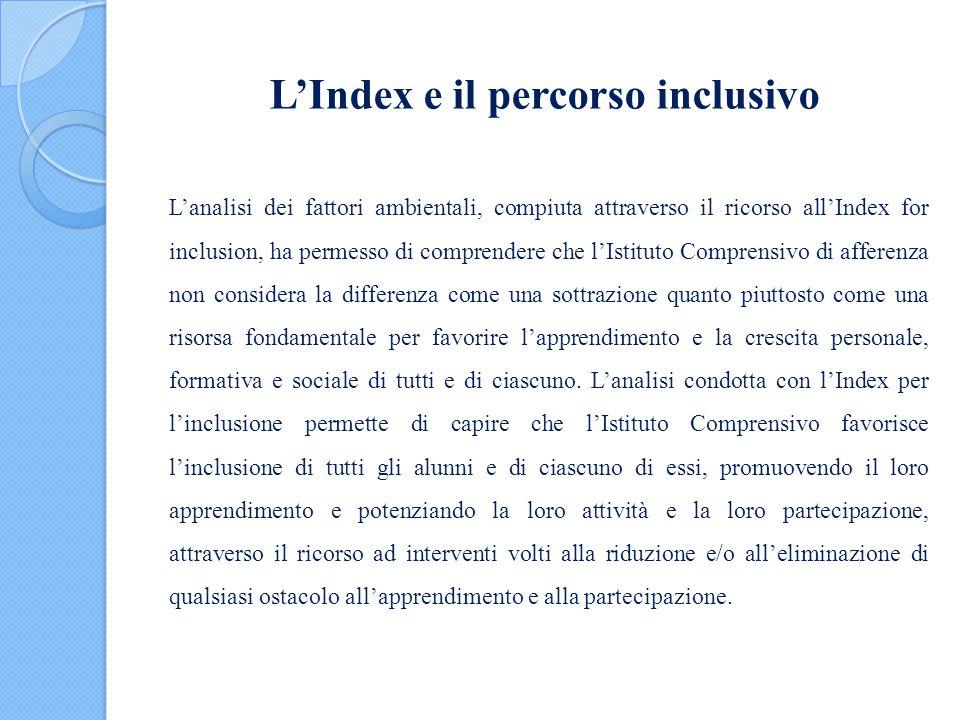 L'Index e il percorso inclusivo L'analisi dei fattori ambientali, compiuta attraverso il ricorso all'Index for inclusion, ha permesso di comprendere c
